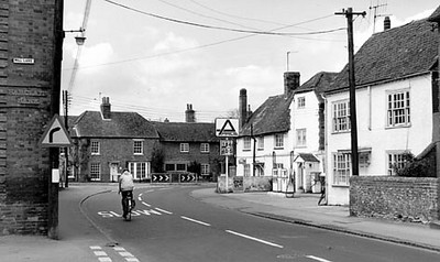 <font size=3><u> - Junction Mill Lane onto the High Street - </u></font> (BS0534)  Date probably 1970s.  Note the Wharton's garage is long gone, replaced by The Benson Garage, run by Mr John Taylor, and in the 21st century by his son Martin.