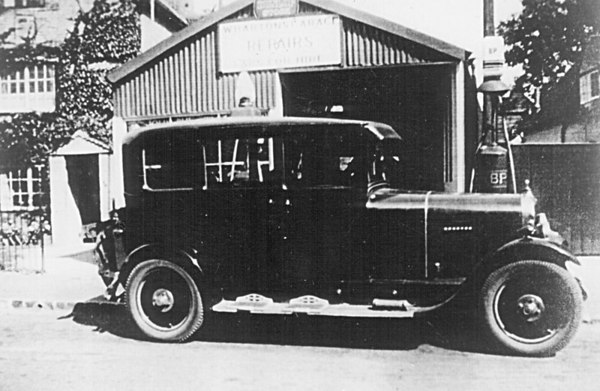 <font size=3><u> - Wharton's Garage - 1945 - </u></font> (BS0179)  Frank Wharton Garage and Taxi on site of present Taylor's Garage. Originally built as a cycle shop by Frank Yard.