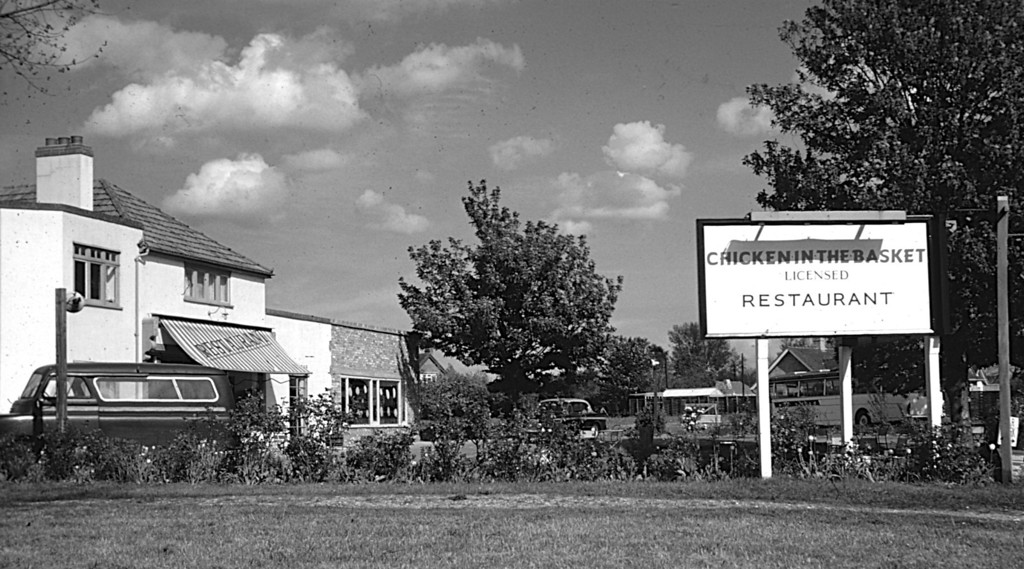 "<font size=3><u> - Chicken in the Basket - </u></font>(BS0577)  Retired Wing Commander Binks (""Binksie"") and Mrs Binks's popular Restaurant, The Chicken in the Basket pictured in May 1962.  Later it became the Rivers Nightclub, and eventually, in 1999, an housing estate."