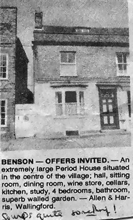 "<center><font size=3><u> - House advert - </u></font> (BS0553)  Carole Johnson writes,  in 2010, Many thanks for the photo/advert for our house (Elm House, 19 Castle Square).   I know pretty well when it appeared - it would have been June/July 1977.   We have never seen the actual advert. for the house because we heard about its sale via a ""back door"", but Allen & Harris were intending to put it up for auction, because, being a rather unusual property, they couldn't work out its value.   We put in an offer before it went to auction, and finally bought it in November 1977.   The ""wine cellar"" mentioned in the advert. wasn't actually in the cellars at all - it was a small, ground floor room with bars on the only window, which was originally used for hanging the flitches of bacon when the Woods family owned the whole property.   We converted the room into a downstairs cloakroom, and keep our wine in the cellar!!   </center>"