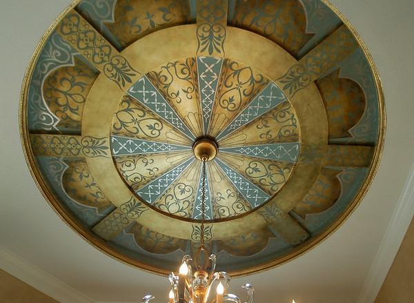 ceiling with stencils over goldleaf gilding