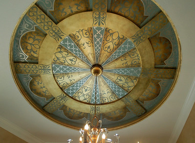 ceiling with stencils over goldleaf gilding