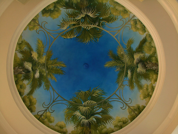 'palms' ceiling mural trompe l'oeil style
