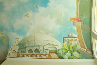 detail of ceiling mural 'view from a venice canal'