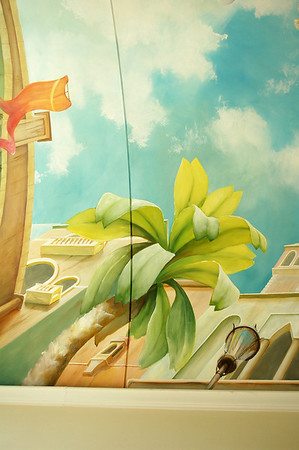 ceiling mural 'view from Venice canal'