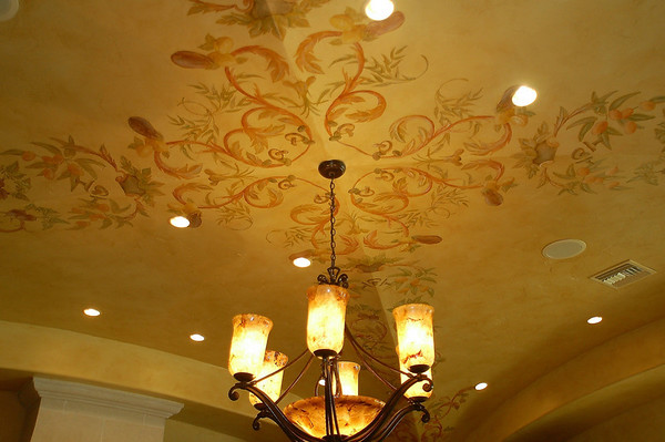 italian kitchen ceiling with painted design and vegetables