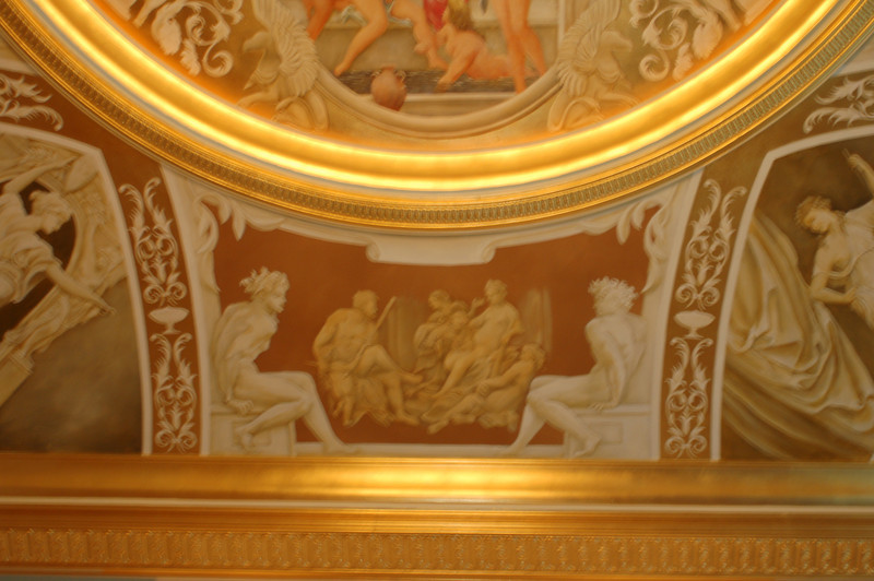 detail of 16th century French ceiling mural over goldleaf gilding