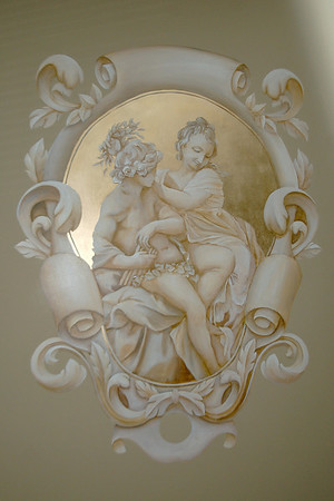 french grisaille panel with couple and gilding