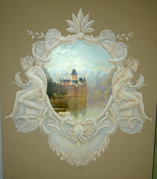 french grisaille panel with landscape painting