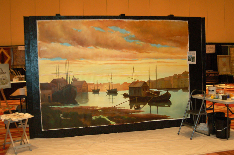 8' x 10' dutch landscape painted during show in 12 hours