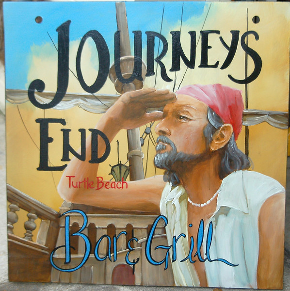 """journey's End bar and grill' pub sign with pirate"