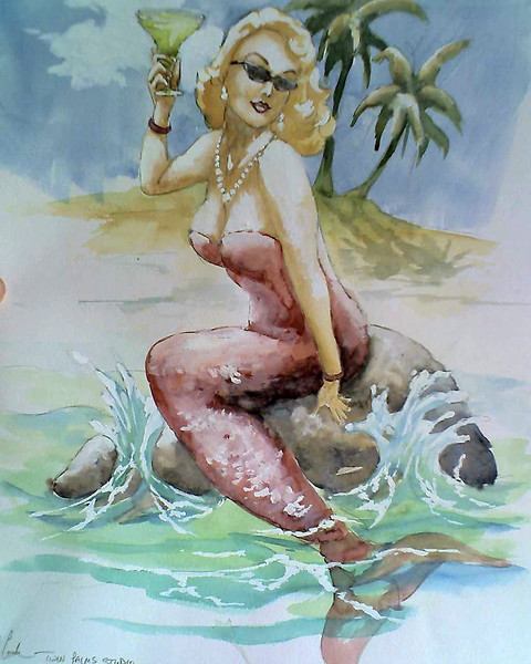 watercolor study for a 'mermaid ' sign