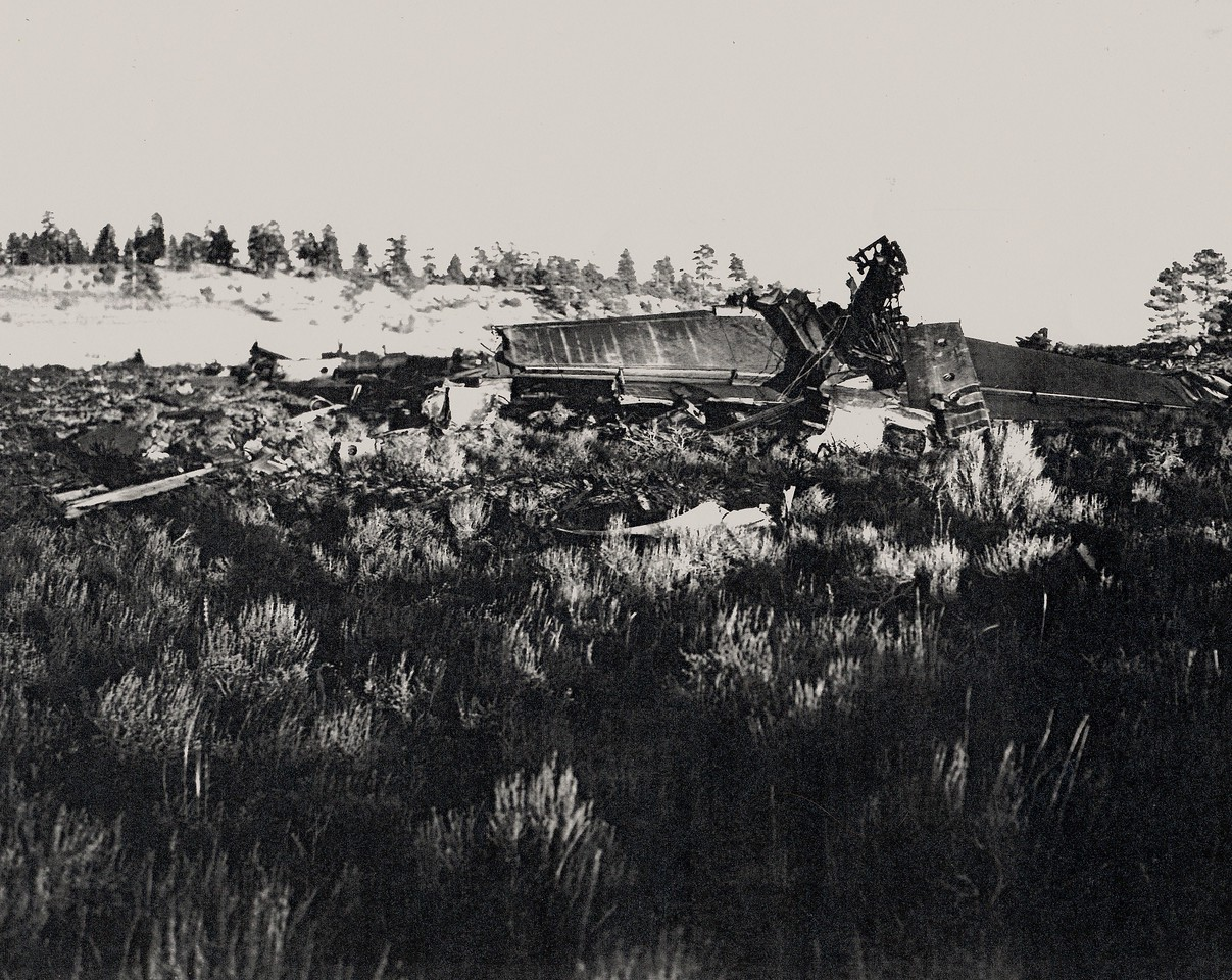 The largest piece of wreckage at the site was the tail section of the DC-6.
