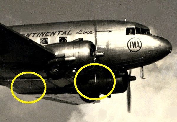 The two ADF Radio Compass antenna masts are located on the belly of the DC-3 and are visible in this photo. (Lostflights Photo)