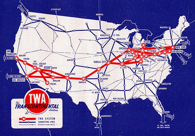 TWA ROUTE STRUCTURE-1942  This TWA system route map illustrates the transcontinental route structure of the airline during January 1942. TWA would later go on to be one of the largest global air carriers.