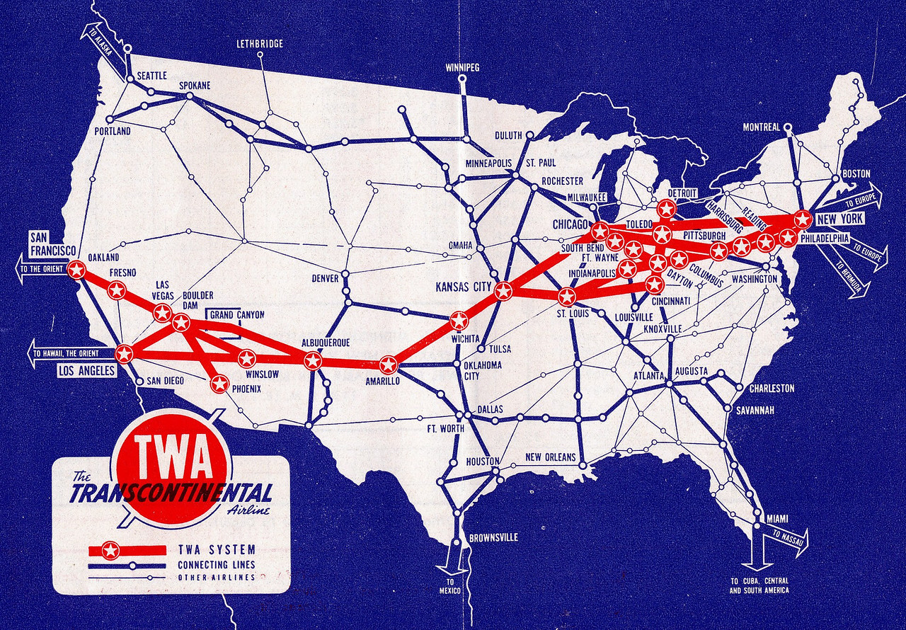 TWA ROUTE STRUCTURE-1942<br /> <br /> This TWA system route map illustrates the transcontinental route structure of the airline during January 1942. TWA would later go on to be one of the largest global air carriers.