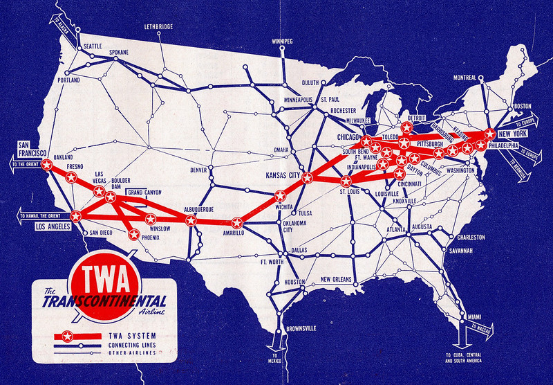 TWA ROUTE STRUCTURE-1942<br /> <br /> This TWA system route map illustrates the transcontinental route structure of the airline during January 1942. TWA would later go on to be one of the largest global air carriers. (LostFlights Photo)