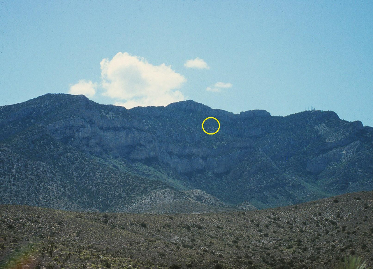 Looking at the northeast face of Potosi Mountain. <br /> <br /> I had a general idea of the location, but to confirm the location precisely I needed to search and photograph the mountain from the air. (Lostflights Photo)