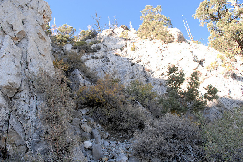 The CAB's aircraft accident report indicates that after the left wing made contact with the cliff, the aircraft continued directly into this cliff and ravine. (Lostflights Photo)