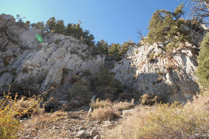 Looking up at the cliff face and the main impact point. (Lostflights Photo)