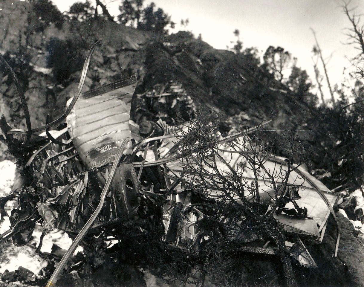 Wreckage of NC1946 the following day after the accident. (Lostflights Photo)
