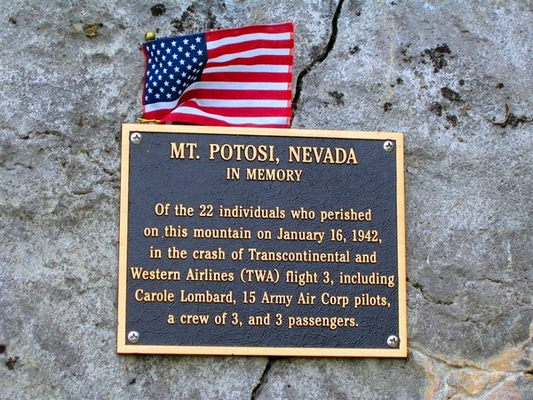 MEMORIALS AND TRIBUTES<br /> <br /> This memorial plaque was placed at the crash site to honor those who died. It was later removed in 2007 by the U.S. Forest Service. <br /> <br /> An interpretive historical plaque approved by the Forest Service is planned to be erected in the near future.