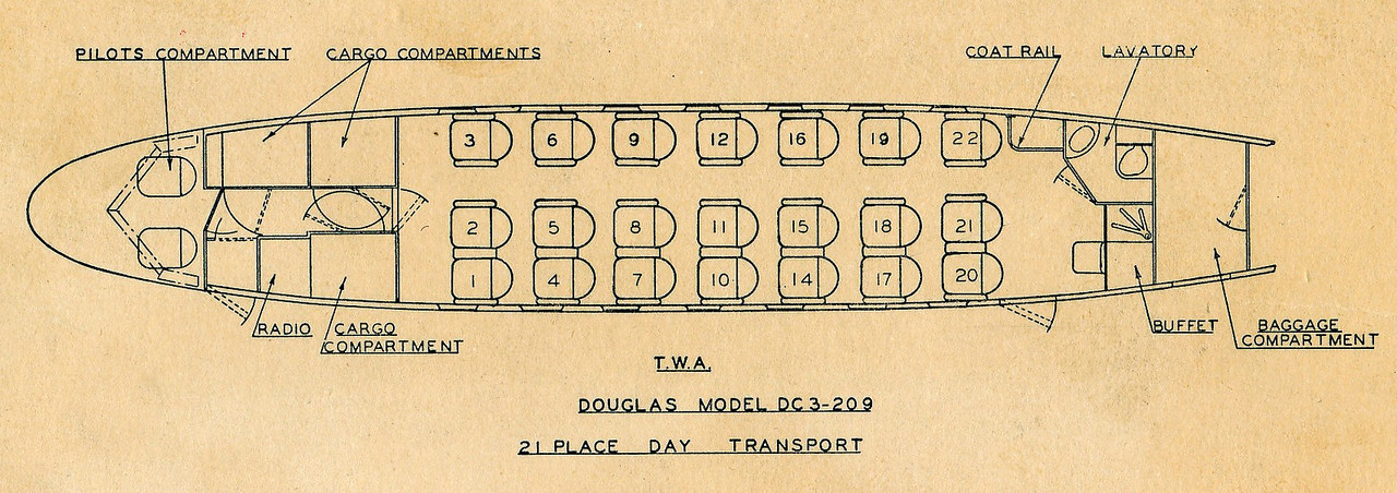 This TWA DC-3 configuration chart depicts the cabin layout for aircraft NC1946. <br /> <br /> Based on the seating chart in the expanded accident report, the following Flight 3 passengers occupied these seats on departure from Albuquerque and Las Vegas:<br /> <br /> Seat 1:  Sgt. A. Belejchak<br /> Seat 2:  Cpl. M. Affrime<br /> Seat 3:  2nd. Lt. K. Donaghue<br /> Seat 4:  1st. Lt. H. Browne<br /> Seat 5:  2nd. Lt. J. Barham<br /> Seat 6:  2nd. Lt. S. Swenson<br /> Seat 7:  Pvt. N. Varsamino<br /> Seat 8:  C. Lombard<br /> Seat 9:  E. Peters<br /> Seat 10: 2nd. Lt. C. Nelson<br /> Seat 11: O. Winkler<br /> Seat 12: Sgt. R. Nygren<br /> Seat 14: 2nd. Lt. F. Dittman<br /> Seat 15: 1st. Lt. R. Crouch<br /> Seat 16: SSgt. E. Nygren<br /> Seat 17: L. Hamilton<br /> Seat 18: SSgt. D. Tilghman<br /> Seat 19: Sgt. F. Cook<br /> Seat 20: Pvt. M. Tollkamp<br /> <br /> *NOTE* There is not a number 13 seat on the chart. Airlines today will not even list a 13th row on a modern airliner. Proof that even the airlines are superstitious about unlucky numbers.