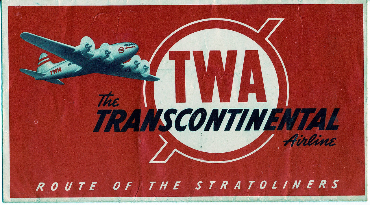 A TWA ticket jacket from 1942 featuring the airline's newest aircraft fleet addition, the Boeing 307B Stratoliner.