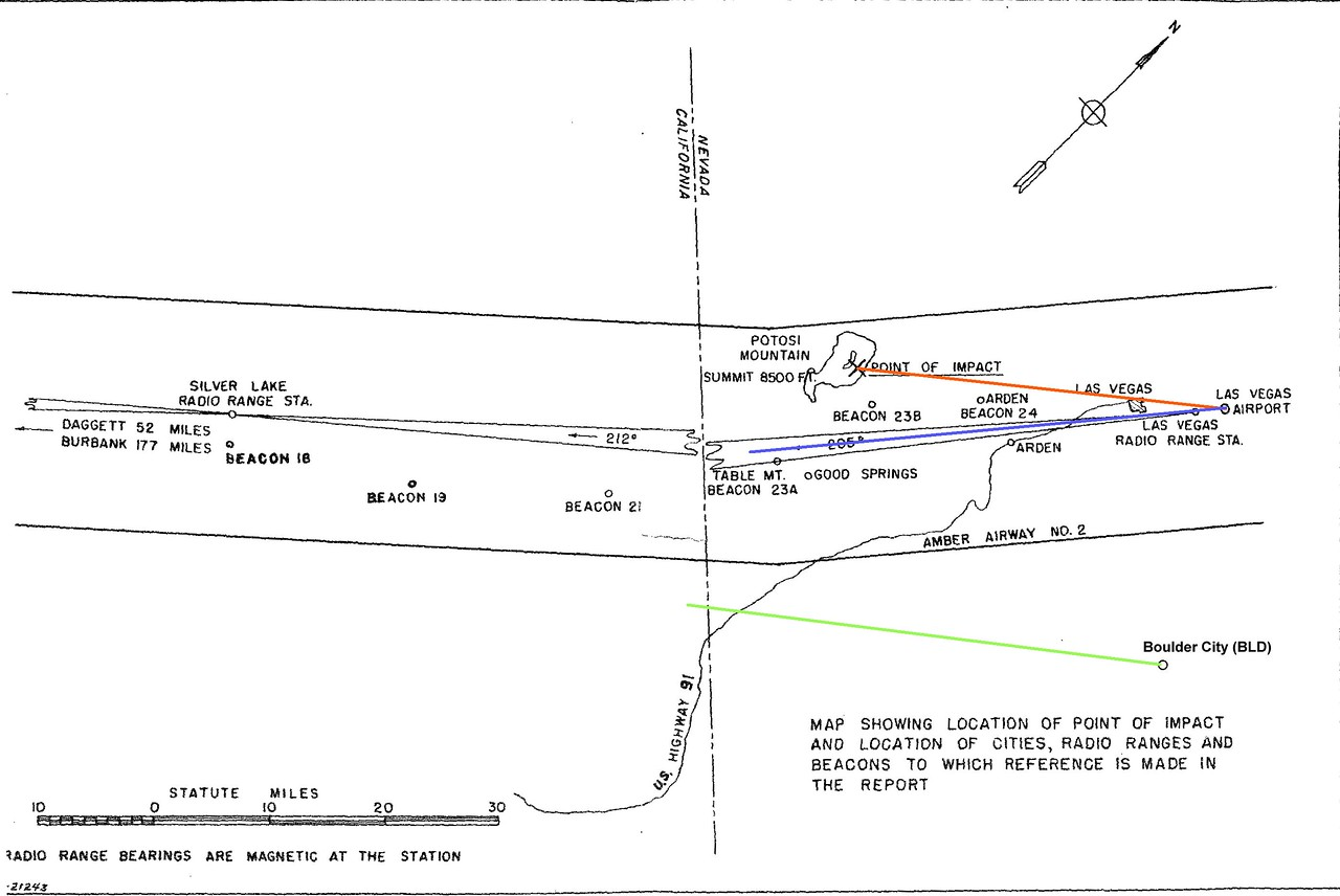 This route map from the Civil Aeronautics Board's report on the accident has been modified to show the various routes. <br /> <br /> The green line depicts a 220 degree magnetic course from Boulder City. The blue line depicts the airway route Flight 3 should have followed on it's night departure  from Las Vegas. The red line depicts the 220 degree magnetic course that Flight 3 followed to the point of impact with Potosi Mountain.<br /> <br /> As suggested in the CAB report, It appears the flight may have been attempting to fly the same course as it would have from Boulder City.