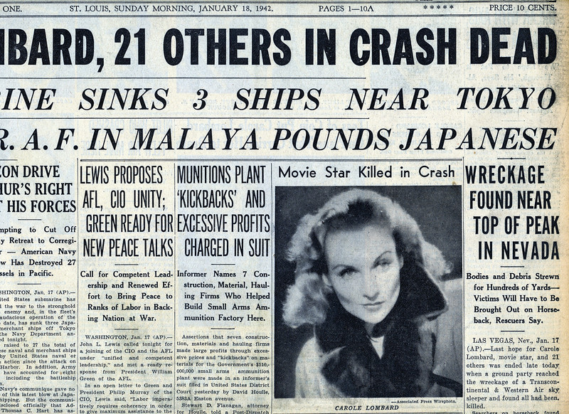 A NATION MOURNS........<br /> <br /> Even though witnesses reported the plane hitting the mountain, the media initially reports the plane missing. It was than presumed all were killed. By January 18th, it was confirmed that no one survived, including actress Carole Lombard.