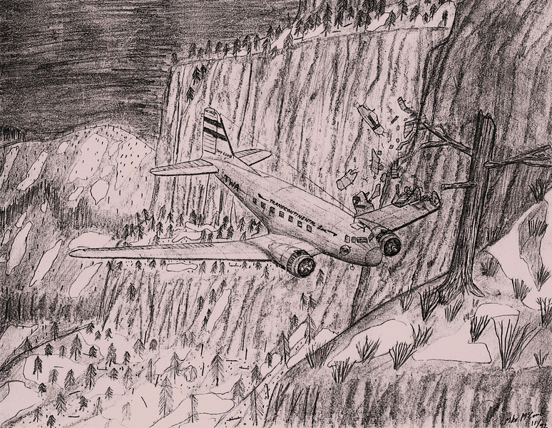 This pencil sketch depicts TWA Flight 3's initial left wing impact with a ledge of Potosi Mountain (M. McComb 11/92).