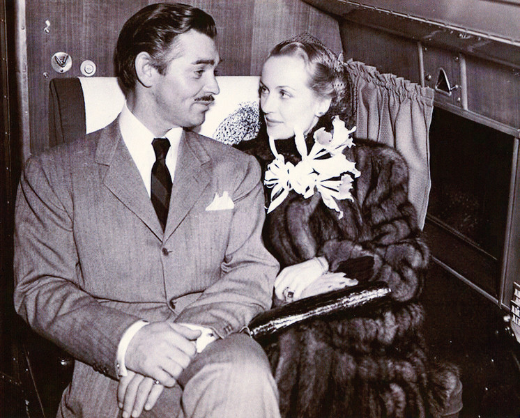 "The Gables, just like many other celebrities of the time utilized the airlines to travel to special events and engagements. <br /> <br /> In this photo, we see Clark and Carole Lombard Gable traveling on an American Airlines Douglas DC-3 for the December 15, 1939 premier of the film ""Gone With The Wind"" in Atlanta. (LostFlights Photo)"