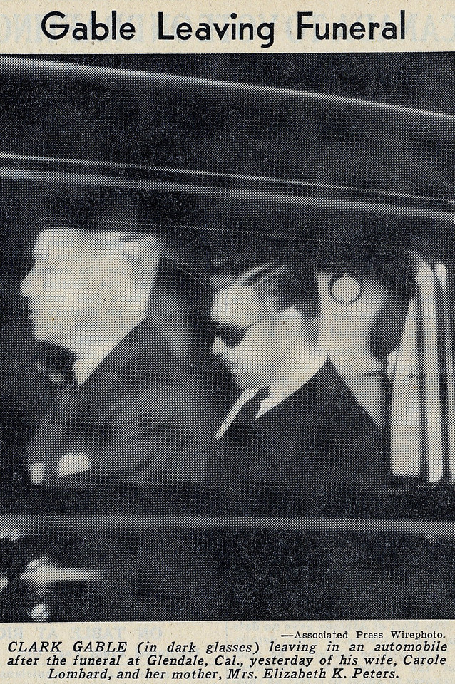 Clark Gable leaving the funeral at Forest Lawn in Glendale, California. Clark Gable was never the same after the accident.<br /> <br /> Upon his death from a heart attack in 1960, both Clark Gable and Carole Lombard were laid to rest together at Forest Lawn's Grand Mausoleum in Glendale, California.