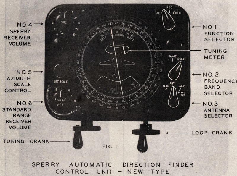 The Sperry MK-1A Automatic Direction Finder Control Unit was very similar to the older Sperry MK-1 unit that NC1946 had on-board. Exceptions: One tuning crank instead of two and a slightly different dial display.<br /> <br /> The use of this instrument would have been required by the pilots to maintain the proper and safe course. The visual lighted airway beacons had been blacked out due to war time security threats.<br /> <br /> At approximately 7:19 PM, TWA Flight 3 collided with Potosi Mountain on a magnetic heading of 220 degrees. The flight was nearly six miles off course.