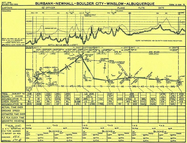 This TWA route plan form for the route between Albuquerque and Burbank via Boulder City/Las Vegas illustrates the airline's serious approach to route adherence and maintaining safe clearances from terrain. <br /> <br /> The form gave pilots greater situational awareness of the terrain by depicting a high-terrain profile along the airway. (Lostflights Photo)