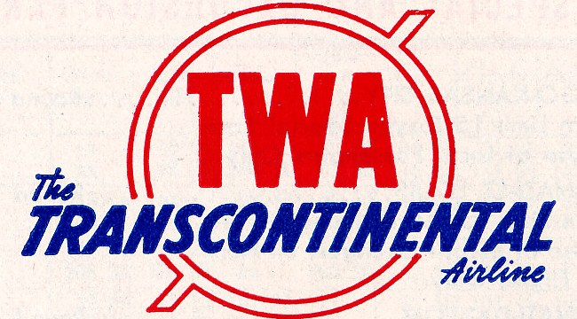 "THE AIRLINE<br /> <br /> A TWA logo from 1942. Corporate history dates from the July 16, 1930 forced merger of Transcontinental Air Transport (T-A-T) and Western Air Express to form Transcontinental & Western Air (T&WA). The companies merged at the urging of Postmaster General Walter Folger Brown who was looking for bigger airlines to give airmail contracts. Charges of favoritism in the contracts was to lead to the Air Mail Scandal in which the two airlines split in 1934, although the T&WA name would stick.<br /> <br /> Both airlines brought high profile aviation pioneers who would give the airline the panache of being called the ""The Airline Run by Fliers"" be known for several years for being on the cutting edge of aviation. Transcontinental, the bigger of the two, had the marquee expertise of Charles Lindbergh and was already offering a 48-hour combination of plane and train trip across the United States. Western, which was slightly older having been founded in 1925, had the expertise of Jack Frye.<br /> <br /> On October 25, 1930, the airline offered one of the first all plane scheduled service from coast to coast -- the Lindbergh Route. The route took 36 hours and initially called for overnights in Kansas City.<br /> <br /> TWA relocated its headquarters from New York to Kansas City, Missouri in summer 1931."