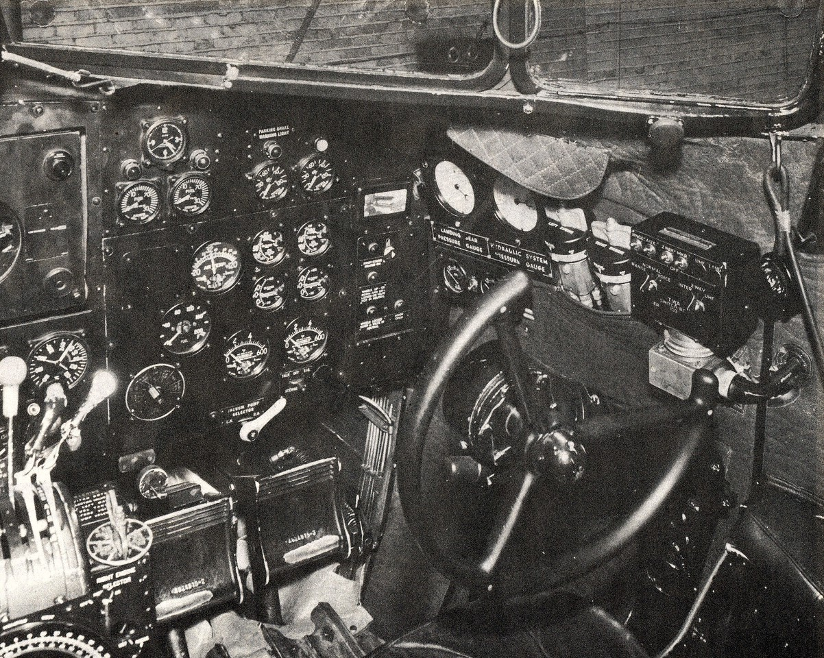 The right seat (co-pilot's side) instrument panel contained only engine gauges, electrical gauges, and an 8 day clock. The primary flight instruments located above the center pedestal were shared by both pilots. (TWA Photo)