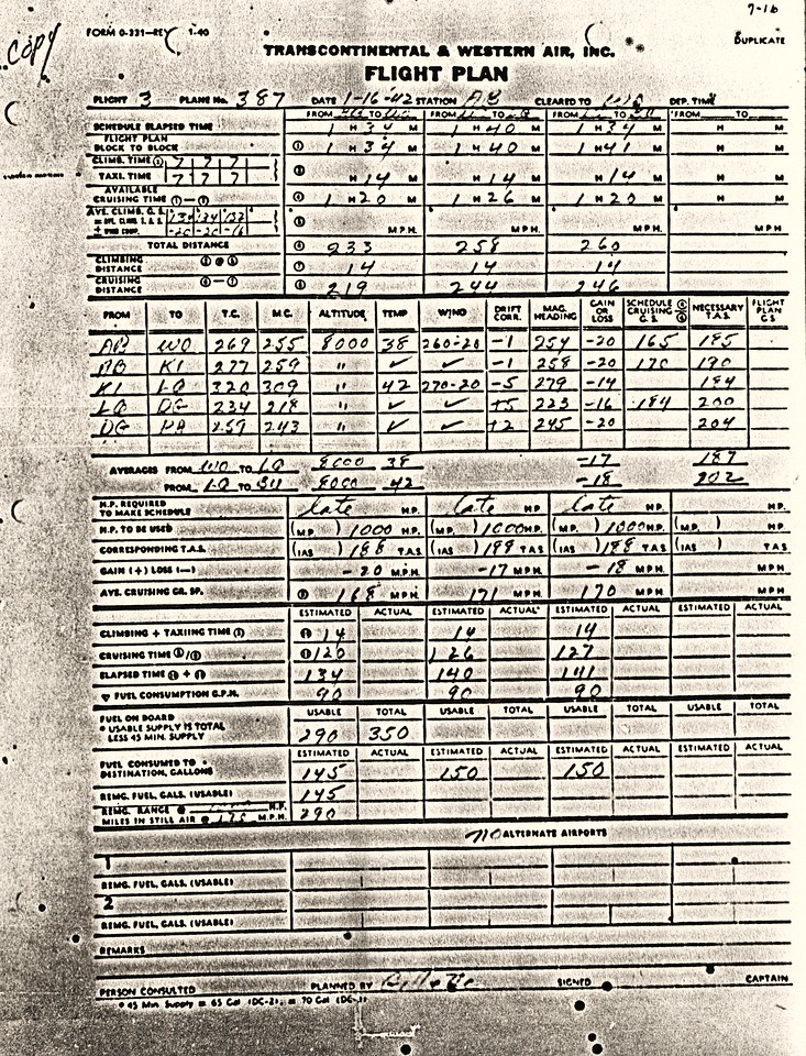 This copy of Flight 3's Flight Plan was prepared by Co-pilot Gillette as stated on the bottom of the form. The flight plan was created in Albuquerque (AB) prior to departure and indicates the route diversion to Las Vegas (LQ). <br /> <br /> More omninous is the 223 degree heading and 8,000 foot altitude Gillette calculated for the route between Las Vegas and Daggett, California (DG). <br /> <br /> In addition, there is no evidence that Captain Williams reviewed the flight plan that his co-pilot prepared.  The flight plan was never signed by Captain Williams (lower right corner). (Lostflights Photo)