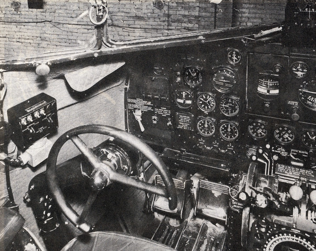 The left seat (Captain's side) of a TWA DC-3 Airliner contained both primary (center) and auxiliary flight instruments. (LostFlights Photo)