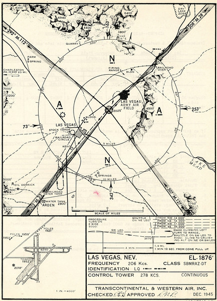 By the time Flight 3 arrived at the Las Vegas Airport (6:37 PM) the sun had set and it was already dark.<br /> <br /> *NOTE* The chart shown is dated December 1945 and the air field formally operated by Western Air Express was now occupied by the U.S. Army Air Force as a joint civilian/military airport in 1945. The airport would eventually evolve into present day Nellis Air Force Base. (Lostflights Photo)