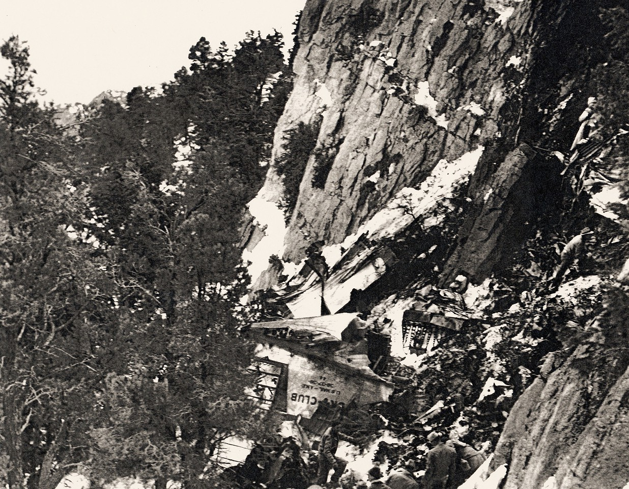 This overview of the crash site not only illustrates the destructive forces involved, but also the steep rugged terrain of Potosi Mountain. (Bettman Archives)