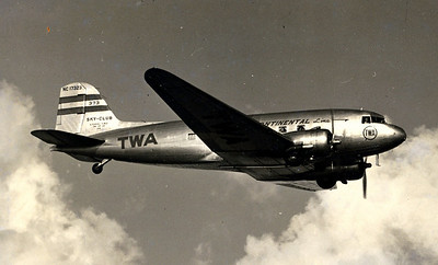 "THE AIRCRAFT  The Douglas DC-3 ""Sky Club"" operated by Transcontinental & Western Air was the workhorse of the fleet during the early 1940's. (LostFlights Photo)"