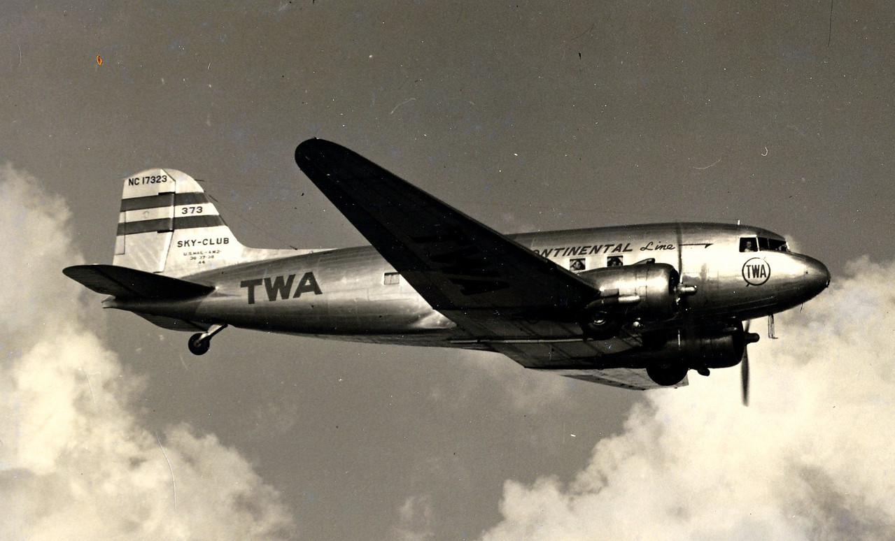 "THE AIRCRAFT<br /> <br /> The Douglas DC-3 ""Sky Club"" operated by Transcontinental & Western Air was the workhorse of the fleet during the early 1940's. (LostFlights Photo)"