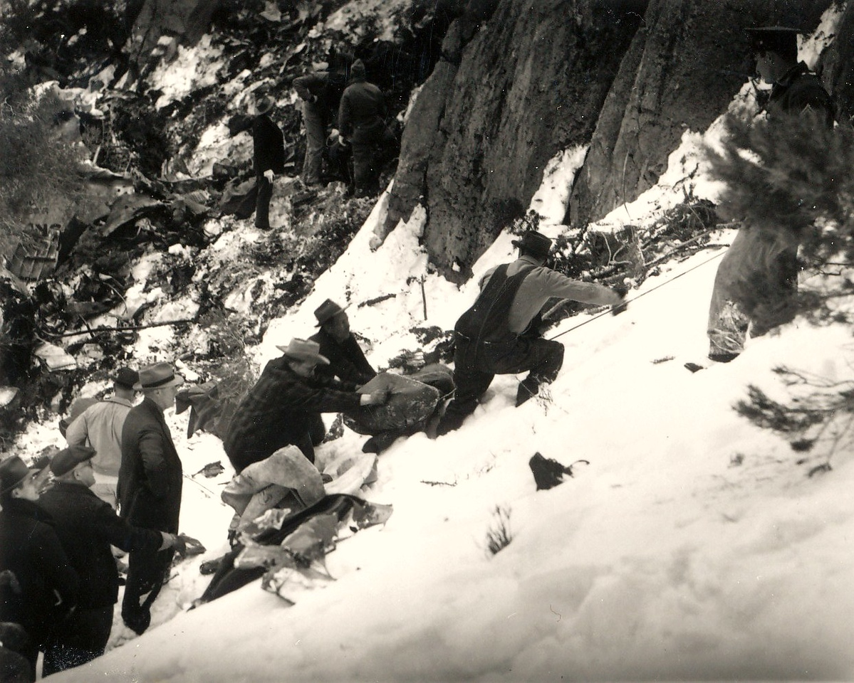 No helicopters were available in 1942 to help in the recovery efforts. The accident victims were literally dragged up this snow covered ravine and loaded onto horses for the long ride down to the local community of Goodsprings. (Lostflights Photo)