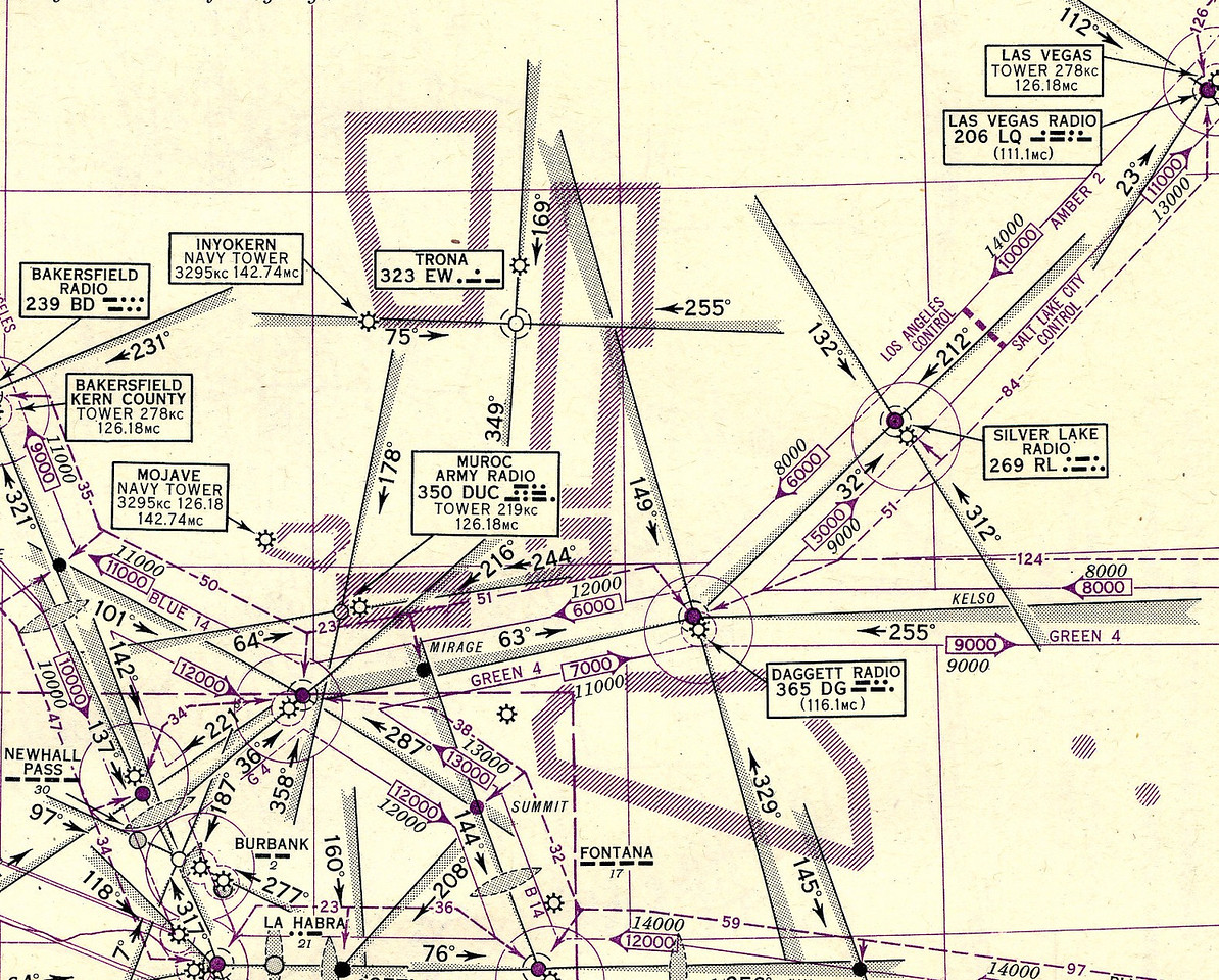 The pilots of TWA Flight 3 would have (or should have) been referring to this airway navigation chart as they departed the Las Vegas area enroute to the Burbank Air Terminal. <br /> <br /> The chart illustrates the proper radio range frequencies, bearings, and minimum altitudes for the planned route. (Lostflights Photo)
