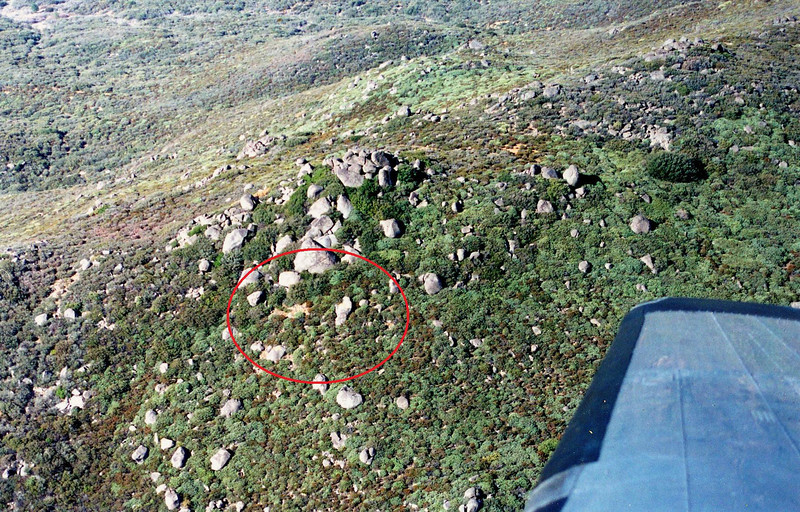 "Over the years the large pieces of wreckage marked with painted ""X""s were removed by salvage teams. <br /> <br /> With wreckage still visible, the site was again marked by ""X""s that were painted on large boulders."