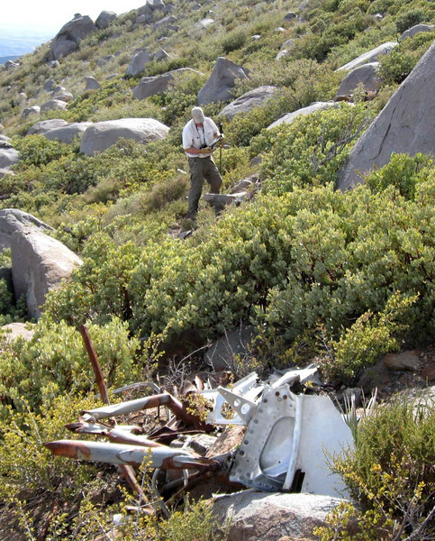 We were fortunate to have spent most of the late afternoon at the site. Even more fortunate not to have encountered any rattlesnakes. <br /> <br /> We ended our visit to the crash site of Western Air Lines Flight 44 on Cuyapaipe Mountain as we begun, scrambling through the dense manzanita and scrub oak. (Photo courtesy of Steve Owen)