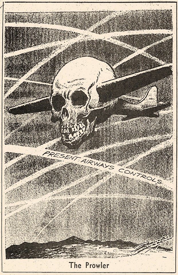 "This editorial cartoon ""The Prowler"" published shortly after the Las Vegas collision illustrates the public's growning concern for the congested airspace and the lack of positive radar control."