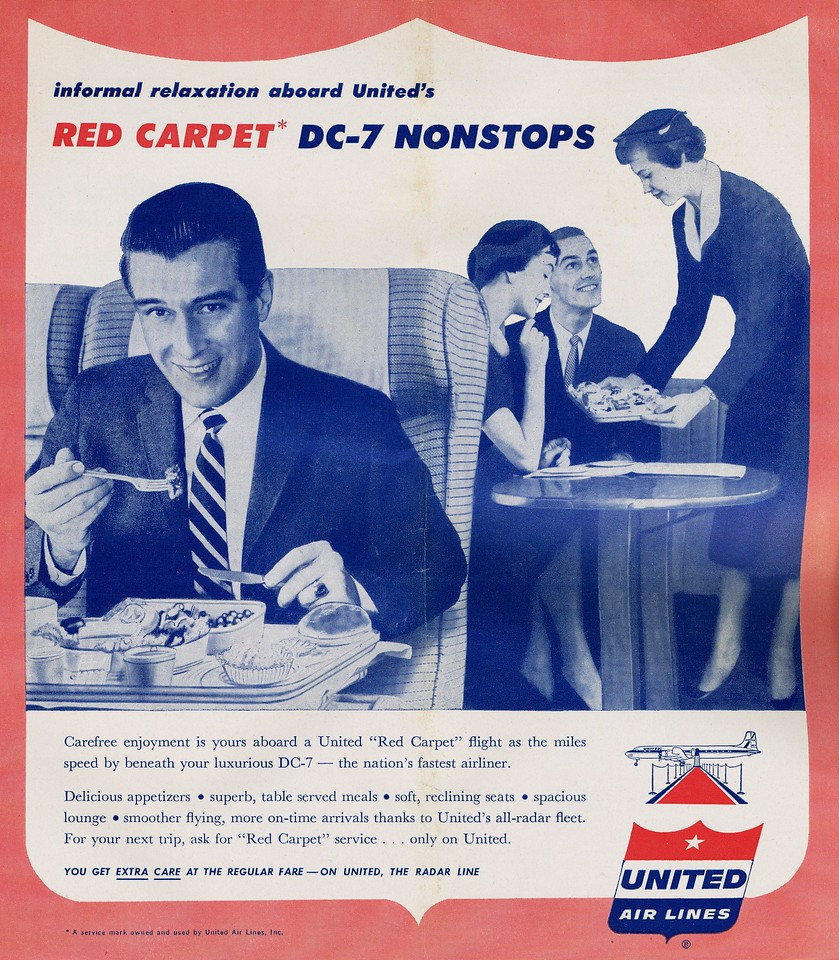 With real gourmet food, reclining seats, and a spacious smoking lounge, there wasn't much not to like about a flight on a United DC-7 Mainliner.