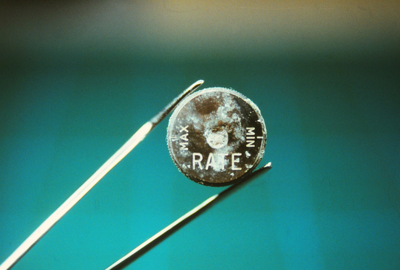 This recovered knob from Flight 736 was originally located on the Cabin Pressurization Control Indicator from the Flight Engineer's main panel.